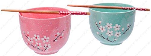Japanese Style Ramen Udong Noodle Soup Cereal Bowl Set with Chopsticks, Cherry Blossom, Set of 2 Bowl / 2 Chopsticks, 24-Ounces ()