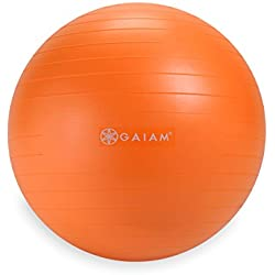 Gaiam Kids Balance Ball - Anti-Burst Exercise Stability Ball for Kids with Air Pump, Orange, 45cm