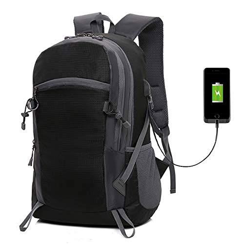 HEMFV ハイキングバックパックトレッキングリュックサックバックパック学生用バッグUSB充電パッケージ屋外登山ランニングサイクリングバッグスポーツレジャー旅行バッグ (色 : ブラック)  ブラック B07Q81LTDC