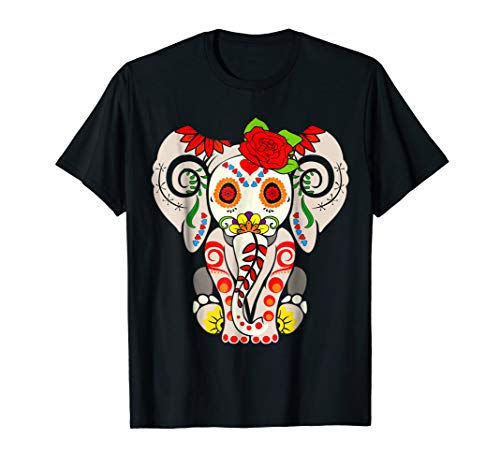 Elephant Sugar Skull Shirt Day Of The Dead Halloween Costume