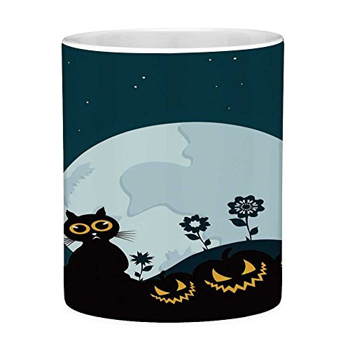 Funny Coffee Mug with Quote Halloween Decorations 11 Ounces Funny Coffee Mug Cute Cat Moon on Floral Field with Starry Night Sky Star Cartoon Art Blue Black -