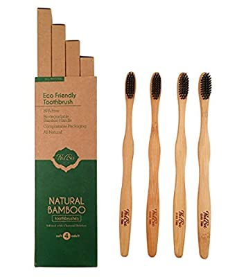 NATURAL BAMBOO TOOTHBRUSH (Adult 4-Pack) Soft Infused Charcoal Bristles, 100% Biodegradable Handle– By TruBu 2018 NEW