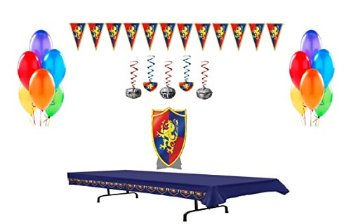 Medieval Decorations Party Supply Pack Includes Center Piece, Balloons, Whirls, Table Cover, & (Medieval Party Decorations)