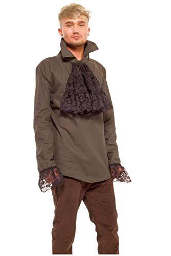 [Green Cotton Steampunk style mens shirt, frilled cuffs & detachable ruffle. Size S] (Larp Costumes Uk)