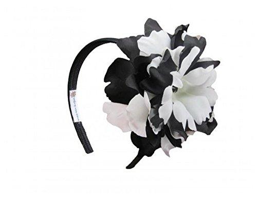 Headband Jamie Rae Hats - Black Hard Headband with Black White Large Peony, One Size