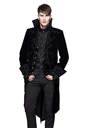 Steampunk Gothic Jacket Victorian Tailcoat Mens Clothing Punk Renaissance Cyberpunk Halloween Costumes (Burlesque Clothing Men)