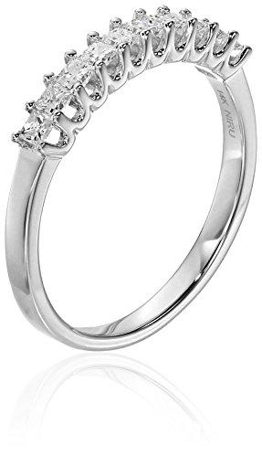 14k-White-Gold-Princess-Cut-Diamond-Wedding-Band-12cttw-H-I-Color-I1-I2-Clarity