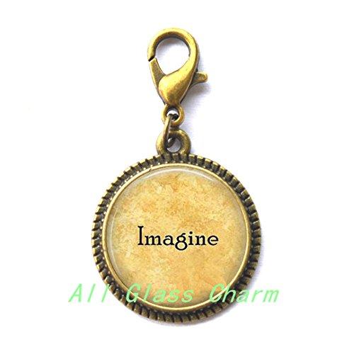 Moon Charming Zipper Pull,Imagine - Imagine Zipper Pull - Imagine Peace - Imagine Charming Zipper Pull - Gift for Grad - Imagine the Possibilities - Love not - Name John Glasses Lennon