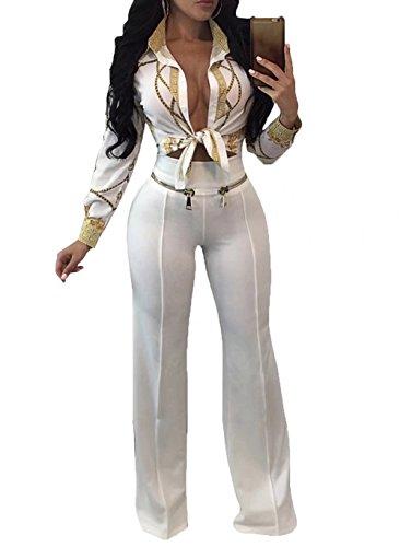 FOUNDO Womens Chain Print Casual Long Sleeve Button-Down Shirt Blouse Crop Tops White M