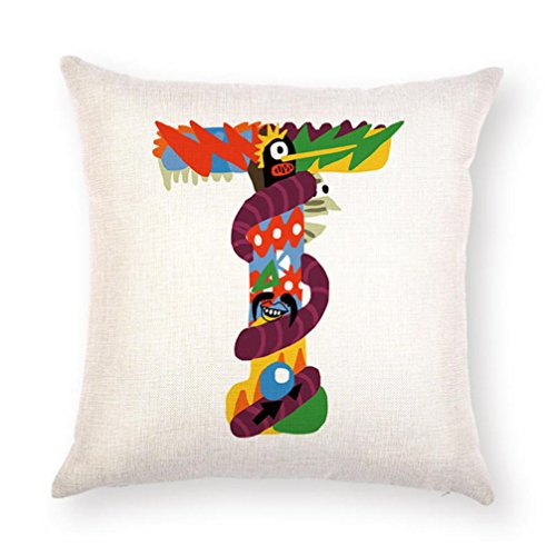 GBSELL Pillow Cover A-Z Alphabet Letter Throw Pillow Case Cafe Home Party Christmas Halloween Decor Cushion (T) ()