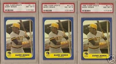(3) 1986 Fleer Update Barry Bonds Rookie PSA NM-Mint 8