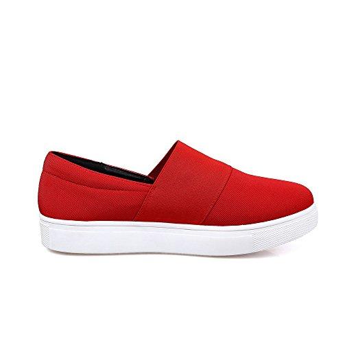 AgooLar Damen Ziehen auf Niedriger Absatz Blend-Materialien Rein Rund Zehe Pumps Schuhe Rot