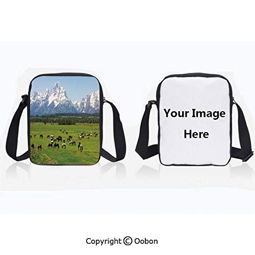 Anti-Theft Crossbody Bag for Women Polyester Unisex Children Grand Teton National Park Snowy Mountains Fresh Greenery Trees Animals Decorative Green Light Blue Zipper Anti Theft Waterproof Shoulder ()