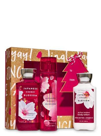 Bath & Body Works Japanese Cherry Blossom Jingle Box Gift Set | Shower Gel, Body Lotion & Fragrance Mist