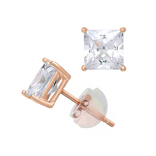 Celebrity Cz Jewelry - 14K Rose Gold Cubic Zirconia Princess Cut CZ 6.0 mm Stud Earring Comfort Fit