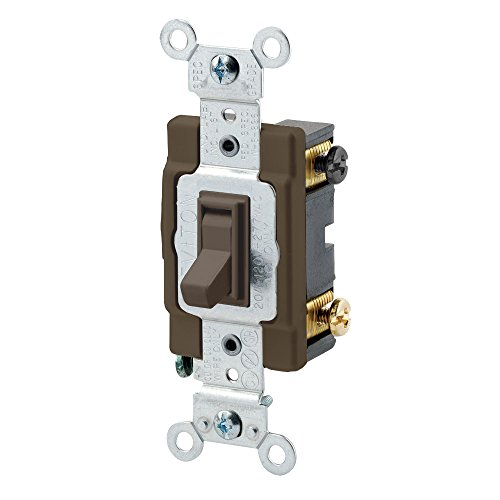 - Leviton 54504-2 15-Amp 120/277-Volt, Toggle Framed 4-Way AC Switch, Brown