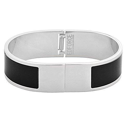 EDFORCE Stainless Steel Women's Silver Plated Enamel Bangle Bracelet Buckle Clasp Stackable (Black) ()