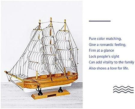 Velero de madera, 33 cm, blanco, porche, vinoteca, gabinete, oficina, decoración del hogar, dormitorio, simulación, modelo de barco de madera, pantalla, personalidad, modelo de velero de madera maciza
