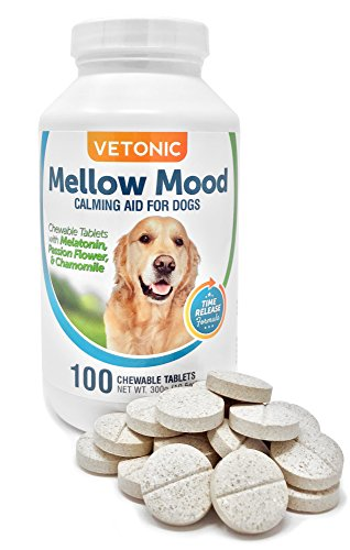 Melatonin for Dogs with Separation Anxiety, Mellow Mood Dog Calming Aid, Time-Release Stress Relief, 100 Chewable (Separation Anxiety)