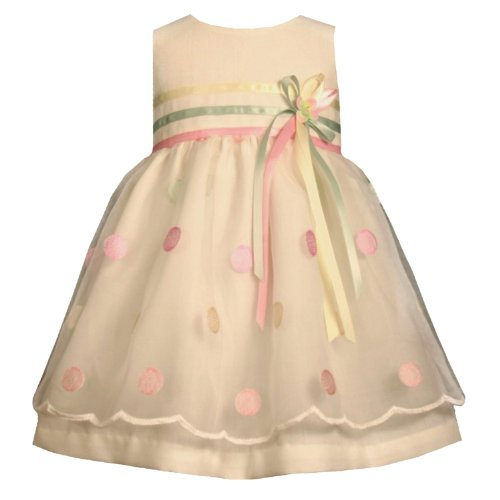 Bonnie Jean Baby/INFANT 12M-24M IVORY MULTI-COLOR EMBROIDERED DOT ORGANZA OVERLAY LINEN Special Occasion Flower Girl Easter Party Dress