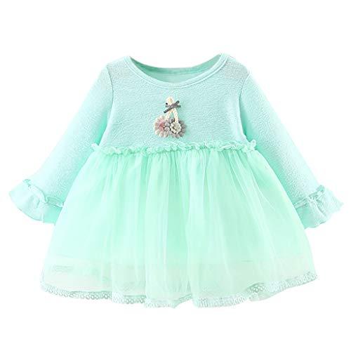 Sunhusing Infant Baby Girls Ruffled Long Sleeve Drawstring Flower Applique Lace Tulle Princess Dress Green