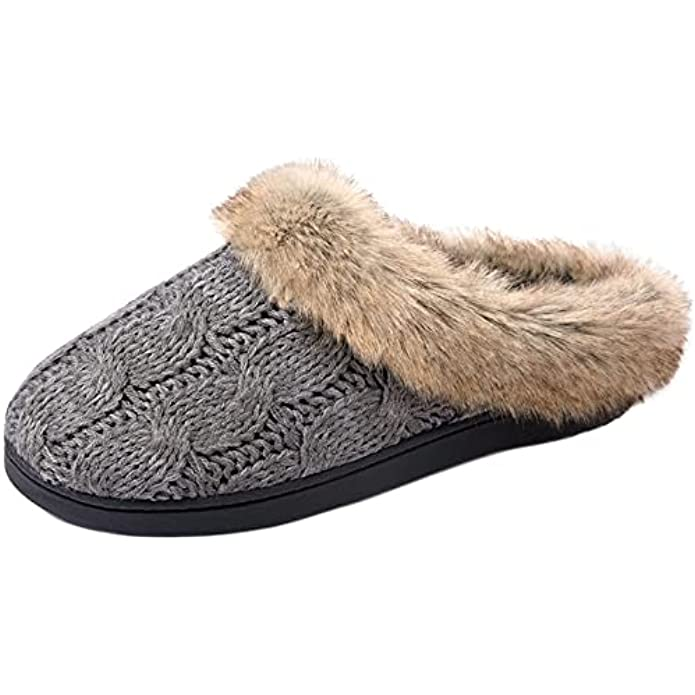ULTRAIDEAS Women's Soft Yarn Cable Knitted Slippers Memory Foam Anti-Skid Sole House Shoes w/Faux Fur Collar, Indoor & Outdoor