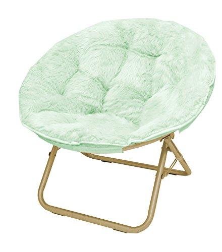 Urban Shop Faux Fur Saucer Chair with Metal