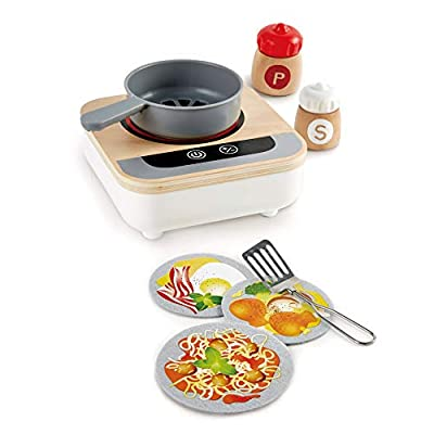 Hape Fun Fan Fryer | Wooden Tabletop Stove with Fan, Kitchen Playset for Preschoolers, Includes Salt and Pepper Shakers, Six Recipes and More, (Model: E3164): Toys & Games