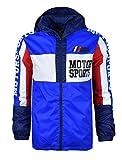 SCREENSHOTBRAND-S51802 Color Block Lightweight Motor Sports Racing Print Windbreaker Jacket-Royal-XLarge