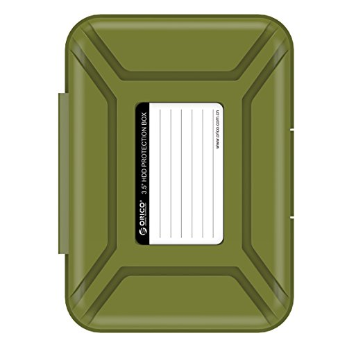 (ORICO Anti-Static Portable Hard Disk Drive Protective Box - Professional Premium External Shockproof Storage Case for 3.5 Inch HDD - Green)