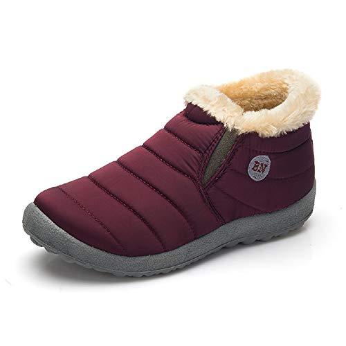 Hafiot Stivaletti Uomo Donna Impermeabili Scarpe Invernali da Neve Pelliccia Caviglia Caldo Pantofole Antiscivolo Sneakers Rosso Blu 35-48 Rosso