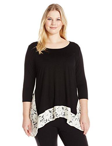 Karen-Kane-Womens-Plus-Size-Lace-Contrast-Hi-Lo-Top