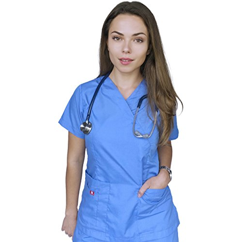 AMAZMEE Medical Scrubs Uniform Set for Women V-Neck Wrap Top with Red Neckline and Drawstring Straight Pant 7 Pockets Premium Breathable Material (Ceil Blue, XS) by AMAZMEE