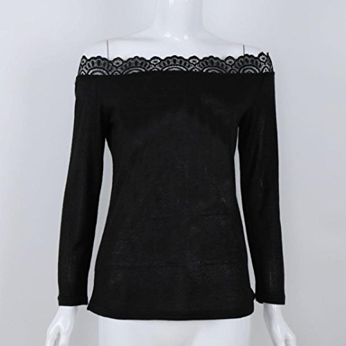 Tops Noir longues manches Femme Blouse Sweat Malloom Casual Xw1zpw