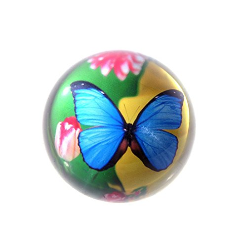 HD 3D Crystal Blue Butterfly Dome Paperweight Globe Hemisphere Table Decor