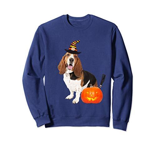 Basset Hound Witch Hat Halloween Dog Sweatshirt -