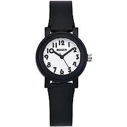 Zeiger New Fashion Girls Kids Children Easy Read Time Teacher Little Watch with Silicon Band (Black) KW072