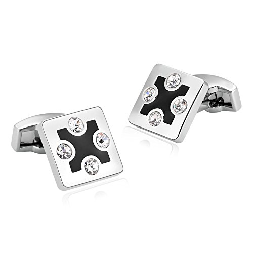 Gnzoe Stainless Steel Men's Silver White Small Cubic Zirconia Inlaid Shirt Cufflinks with Gift - Card And Credit Tiffany Co
