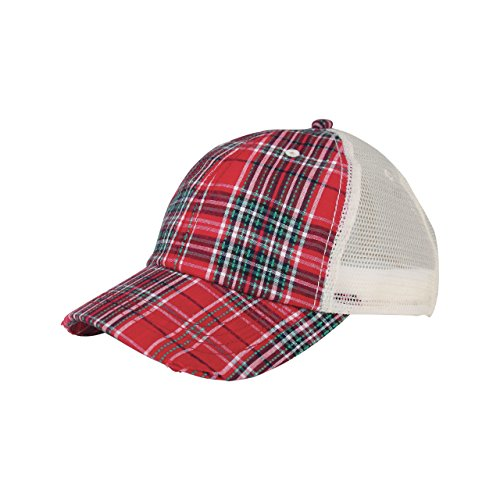 - MG Low Profile (Uns) Plaid Mesh Cap-6853-RED
