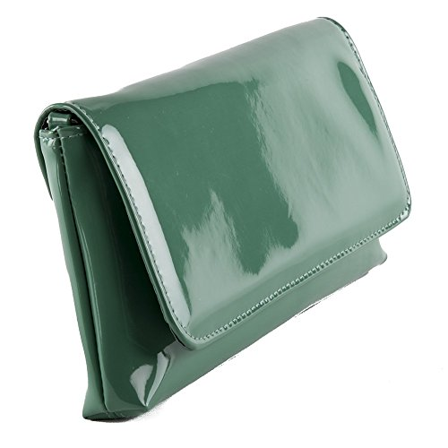 Borsa clutch, Savina verde, in ecopelle