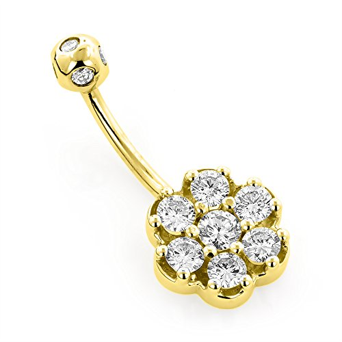 Luxurman Ladies Belly Button Rings 14k Gold Natural 1.3 Ctw Diamond Belly Flower Ring (Yellow Gold) ()