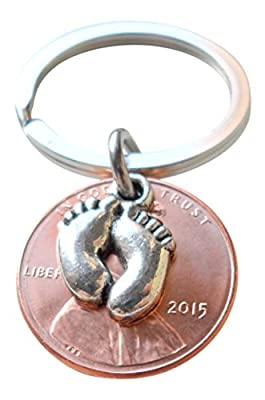 Baby Feet Charm Layered Over 2015 Penny Keychain; Mother's Keychain, Father's Keychain