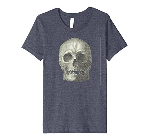 Kids Real Skull Easy Quick Costume Halloween Party Cool Shirt 8 Heather Blue