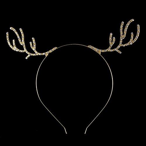 (FUMUD Gold Rhinestone Antler Headband, Wire Rudolf Antlers Metal Deer Ears, Christmas Hair Band, Xmas Headband, Photo Prop)