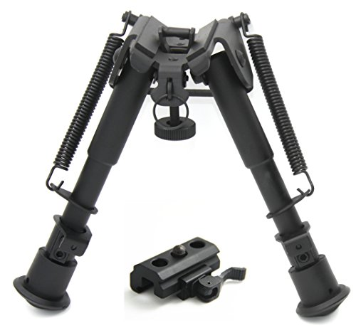 JINSE 6-9 Inches Tactical Rifle Bipod Adjustable Spring Return with Picatinny and Swivel Stud Mount (Quad Tactical)
