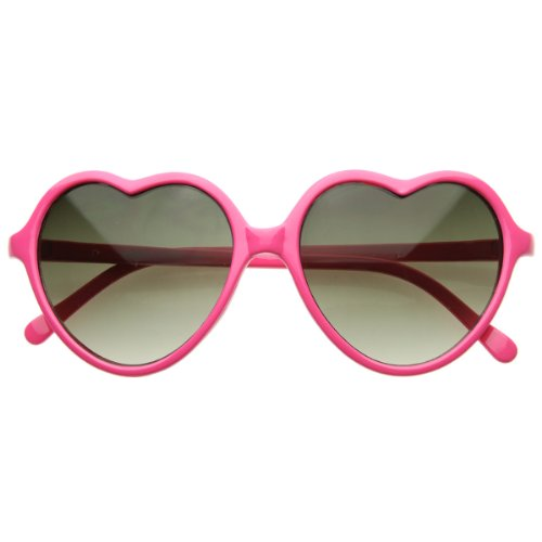 zeroUV - Large Oversized Thin Frame Lovely Heart Shaped Womens Fashion Sunglasses - Heart Oversized Sunglasses Shaped