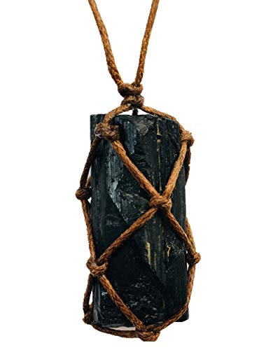 Ripple Stream Raw Black Tourmaline Crystal Healing Chakra Pendant Hand Braided Necklace Protection Negative Energy Cleanser Natural Stress Aid Soothe Mind Emotions Hand Knitted (Braided)