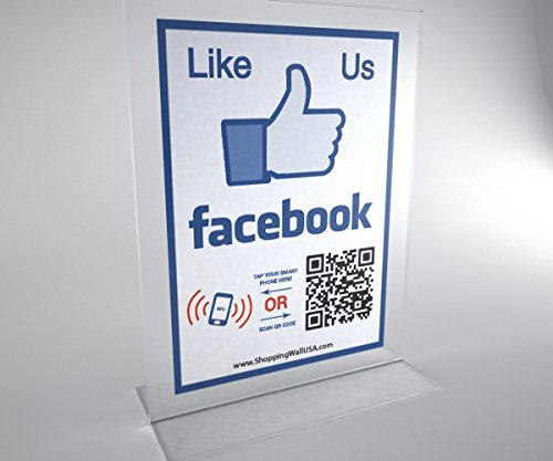 Like us on Facebook – Two-sided T-shape Display Acrylic Stand with NFC tag and QR code NFC TAG and QR CODE. For offices and - Shapes Faces On