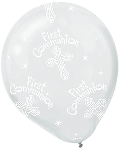 Religious First Communion Party Printed Latex Balloon Decoration, Clear, Latex , 12