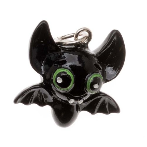 - Delight Beads Jewelry Charm, 3-D Hand Painted Resin Bat 19mm, 1 Piece, Black